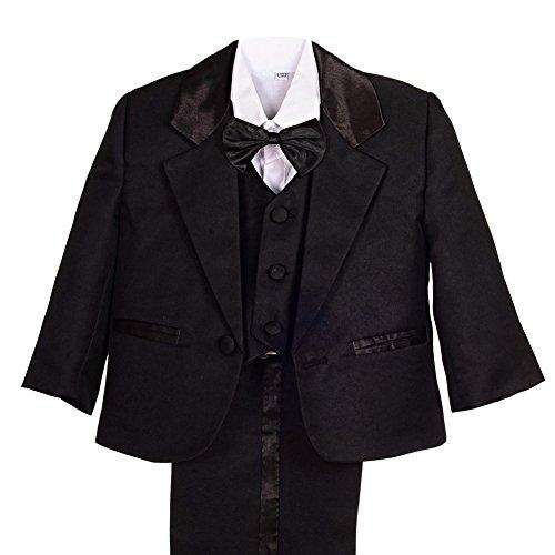 Lito Angels Baby Jungen 5 Stück set Formale Tuxedo Anzug Formale Outfits Gr. 18-24 Monate Schwarz