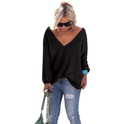 Pull Femme Pulls à manches longues en maille lâche chandails Jumper Tops Tricots Noir
