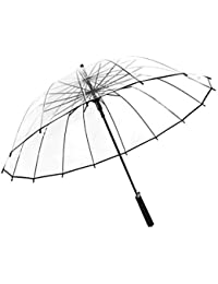 HMKLDFTY Mango Largo Grande 16 Costilla Transparente Paraguas Mujer Lluvia Femenina Sólido Automático Creativo Creativo Claro