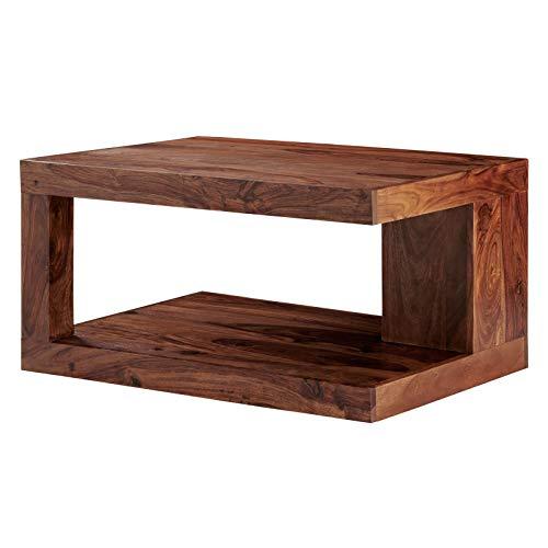 MÖBEL IDEAL Couchtisch Massiv-Holz Sheesham 90 x 60 cm Wohnzimmer-Tisch Braun geölt Beistelltisch Landhausstil
