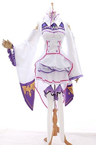 Kawaii-Story MN-16 Emilia RE: Zero Kara Hajimeru Isekai Seikatsu weiß Kleid Set Cosplay Kostüm (Gr. S)