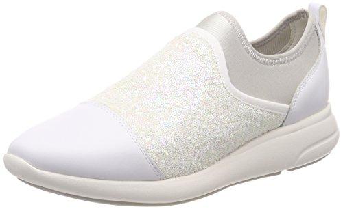 Geox d ophira b, scarpe da ginnastica basse donna, bianco (white/off white), 40 eu