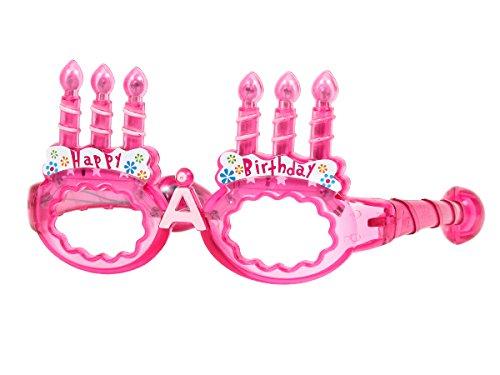 Blinkende LED Partybrille Happy Birthday Brille, wählen:pink
