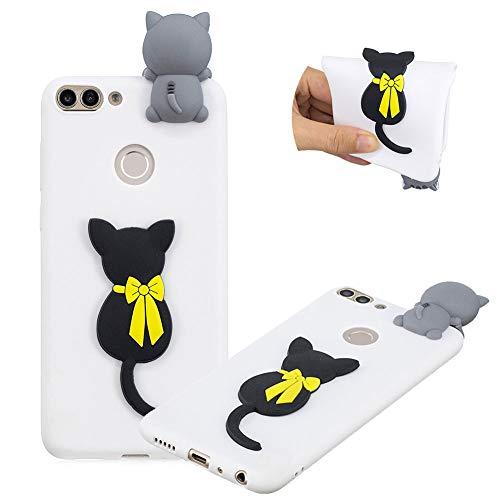 Gummi TPU Hülle für Huawei P Smart,Weich Silikon HandyHülle für Huawei P Smart,Moiky Stilvoll 3D Schwarze Katze Entwurf Soft Flexibel Stoßdämpfende Rückseite Handytasche