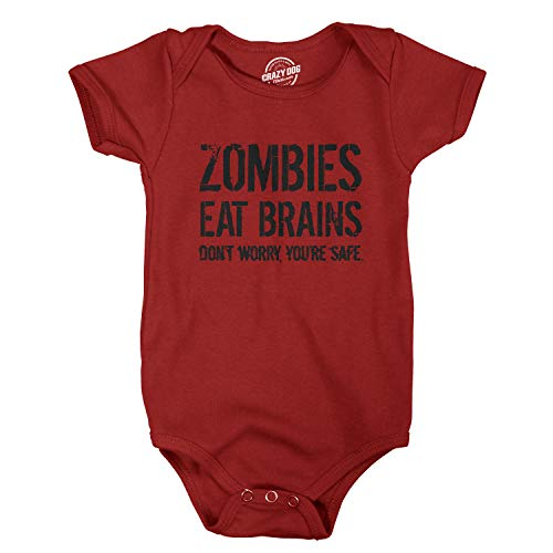 b0a66e26b Crazy Dog Tshirts - Baby Bodysuit Zombies Eat Brains Youre Safe Halloween  Creeper for Infants (