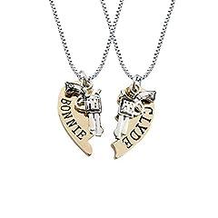 Idea Regalo - WikiMiu Collana di Coppia con Ciondolo a Cuore Puzzle e Revolver, Gioielli di moda per gli amanti di uomo donna per San Valentino Compleanno e Feste (Oro)