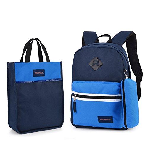 Imagen de vbiger  escuela para niños y niñas 3 in 1 con cartuchera y bolso de mano azul