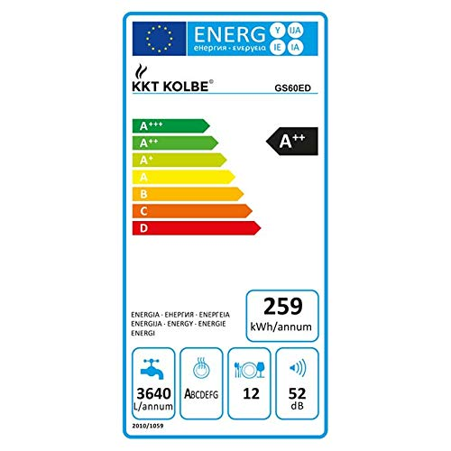 KKT KOLBE GS60ED Einbau Geschirrspüler teilintegrierbar / 60 cm/A++ Energie sparend/Oberkorb höhenverstellbar/flexible Platzaufteilung