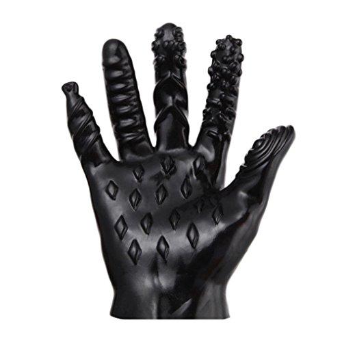 TUDUZ Magic Handschuhe Erotik Fingervibrator Spielzeug Für Frauen Und Männer Fingerüberzieher Anal G-Punkt Massage Sticks Spielzeug Massage Roller Handschuhe (Schwarz, A)