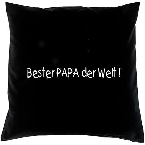 Mejor Papá del Mundo. Funda de cojín en negro. Almohada de algodón 100%.
