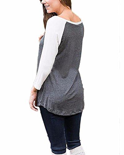 ZANZEA Damen Langarm Streifen Lose Langshirt Bluse Hemd Oberteil Sweatshirt Tops Grau#