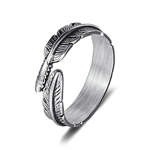 Beydodo Titan Ring für Herren Feder Partnerringe Silber Punk Ringe Größe 57 (18.1)