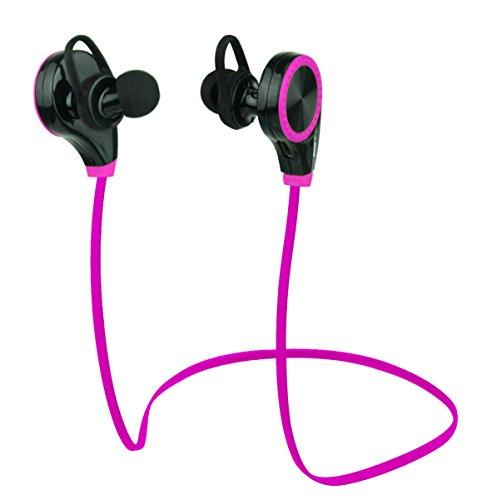 Duhud, cuffie intrauricolari bluetooth 4.0, antitraspiranti, con microfono integrato, adatte per allenamenti, corsa, jogging, escursionismo, d06rq8, pink