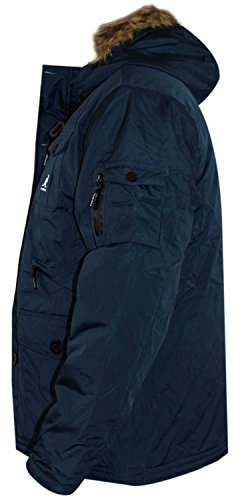 New Mens Kangol Designer Parka Jacket Synthetische Pelz-Ordnungs-Hood warmen Wintermantel Navy