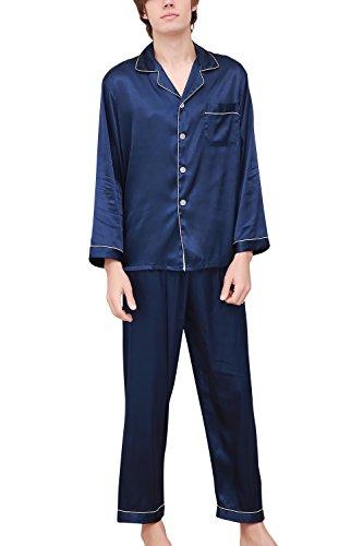 Dolamen Herren Schlafanzug, Satin Paare lang Zweiteiliger Pyjamas Frühling Sommer, Herren Schlafanzug mit Überprüfen Sie geknöpftes Hemd Kragen mit Tasche L XL XXL (X-Large, Blau) (Check Pyjama Set Short)