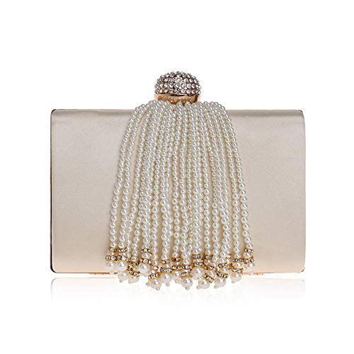 GLJJQMY Abendessen Tasche Kosmetiktasche Lady Bankett Tasche Clutch Bag Quaste Abendtasche Abendtaschen (Color : Apricot, Size : 17.5x11.5x5cm) - Clutch Bag Apricot