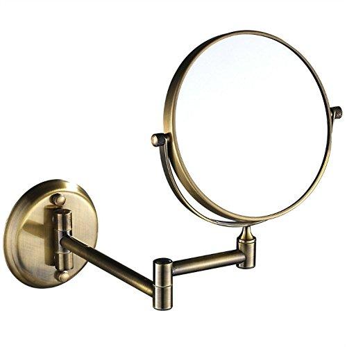 GuRun 1 /10-Fach Vergroesserung Doppelseitiger Wand Kosmetikspiegel,durchmesser rund 20cm, Bronze, M1306K(20cm,10x)