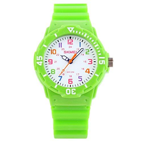 Sport Bunt PU Kunststoff Uhrenarmband Quarz Kinder Jugendliche Armbanduhren für Jungen Armbanduhren für Mädchen, Grün