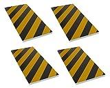 FSWP4425BYx4 Protección garaje adaptable, tiras de espuma adhesivas con cortes en su cara vista para permitir adaptarlo a cualquier esquina y columnas redondas, 44x25x2 cm, negro/amarillo (4 piezas)