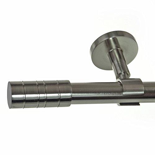 Edelstahl Look Gardinenstange 20mm Deckenträger 1-läufig Zylinder, Länge wählbar D31 E34 R,...