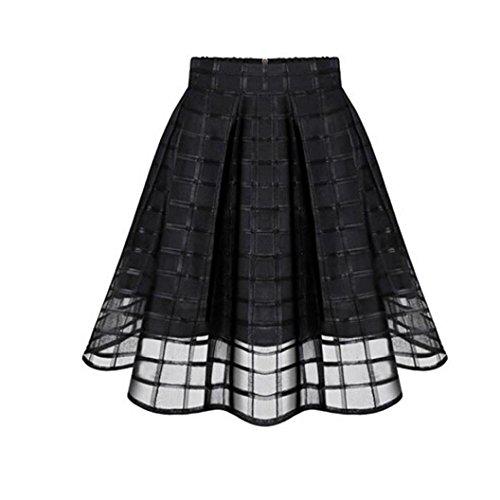 URSING Damenmode Damen Vintage Organza Hohe Taille Reißverschluss Tüll Rock Rockabilly Petticoat...