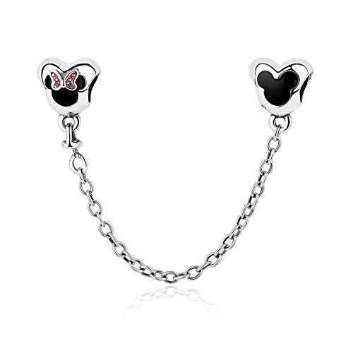 4dba56625 Heart of Cute Mouse Safety Chains 925 Sterling Silver Pandora & European  Charm Bracelets Compatible