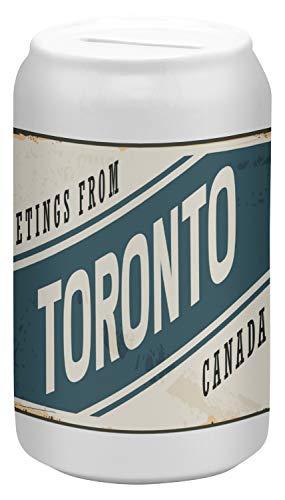 ardose Sparbüchse Geld-Dose Wiederverschließbar Farbe Weiß Stadt Toronto Kanada Keramik Bedruckt ()