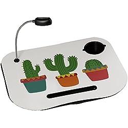 Bandeja ordenador acolchada con lámpara de cactus