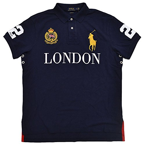 Polo Ralph Lauren Mens Big Pony Stadt Custom Mesh Polo (French Navy London, Medium) (Big Pony Mesh-polo)