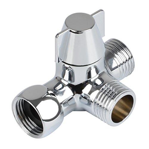 QLOUNI 3-Wege-Umschaltventil Ventil Umschalter für die Dusche, massives Messing, Gewinde (0,5 Zoll / 12,7 mm), Chrom poliert ( PV8 )