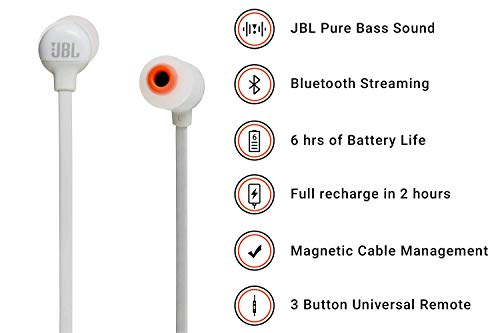 JBL T110BT Pure Bass Wireless in-Ear Headphones with Mic (White) Image 2