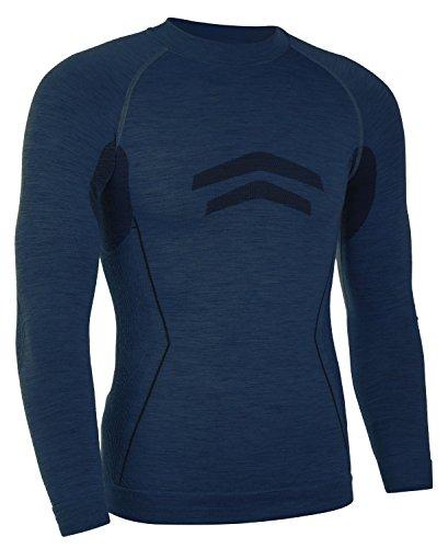 Freenord MERINOTECH ACTIVE Merino Woll Thermounterwäsche Funktionsunterwäsche Skiunterwäsche – SHIRT (Blau, M)