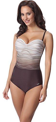 aQuarilla Damen Badeanzug AQ104(Braun/Ecru, 46) (Badeanzug Weibliche Plus Size Kostüme)