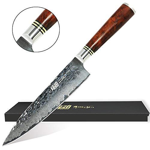 UK-S-Art Damast Küchenmesser 20 cm, Hammerschlag-Oberfläche, Premium Chefmesser Kochmesser 67 Lagen Edelstahl, Rasiermesserscharf mit Edlem Wurzelholz-Griff