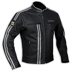 Blouson Cuir Homme Motard Moto Protections CE Veste Doublure Thermique argent S