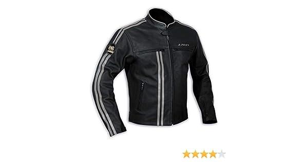 A Pro Lederjacke Herren Biker Motorrad CE Protektoren Echtleder Thermic Silber M