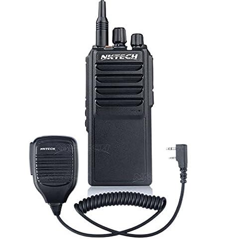 NKTECH U-25W UHF 400-480MHz Tri-Power 25W 10W 5W 10Km Range Handheld Mobile Ham Transceiver Walkie Talkie With 37CM High Gain Antenna Accessories (Black With NK-S112 Speaker