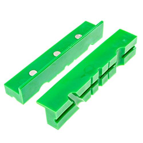 GarMills Schraubstockschutz 2 Stück Mehrzweck Design Nicht beschädigend Mehrfache Nut Magnetische Bank Schraubstock-Pads-Abdeckungen 155 mm