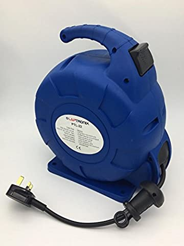 LAPTRONIX 15M METER RETRACTABLE EXTENSION REEL LEAD CABLE 3 WAY ELECTRIC SOCKET
