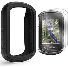 TUSITA Funda con Protector de Pantalla para Garmin eTrex Touch 25 35 35t - Funda Protectora de Silicona Skin - Accesorios de Mano GPS Navigator (Negro)