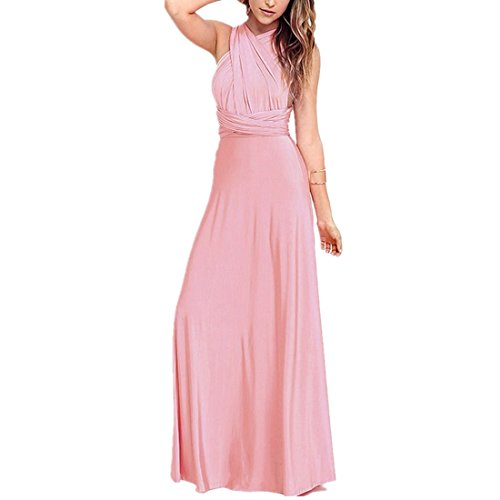 Damen Frauen Multi-tragen Kreuz Halfter Abendkleid Brautjungfer Langes Kleid Multiway-Kleid V-Ausschnitt Rückenfrei Maxikleid Sommerkleider Strandkleid Cocktailkleid Partykleid Rosa 36 -