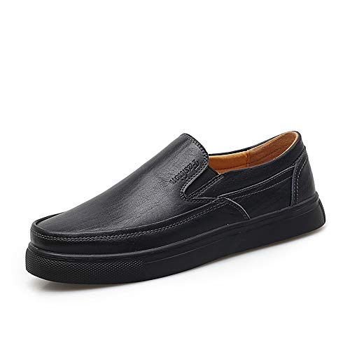 HILOTU Oxford Schuhe Für Männer Formelle Schuhe Beleg Auf Art-einfachem Normallack-bequemem Rundem Toe (Color : Schwarz, Größe : 44 EU)