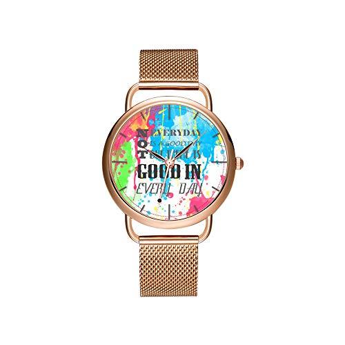 Frauen Uhren Marke Damen Mesh Gürtel ultradünne Uhr wasserdichte Uhr Quarzuhr Weihnachten kühlen Kürbis tragen Retro Katze Sonnenbrille Armbanduhren