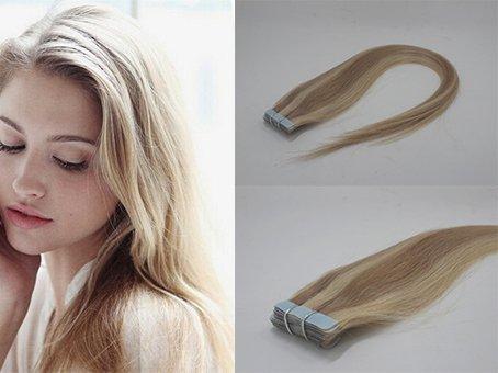 Romantic Angels® 20 x 2.5g Remy extensions à bandes adhésives de cheveux naturel/Skin Weft/Tape Extensions 20''(50cm) - Coleur:#18/613