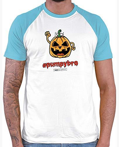 HARIZ  Herren Baseball Shirt Pixbros Pumpybro Halloween Kostüm Horror Umhang Plus Geschenkkarte White/Atoll Blue M