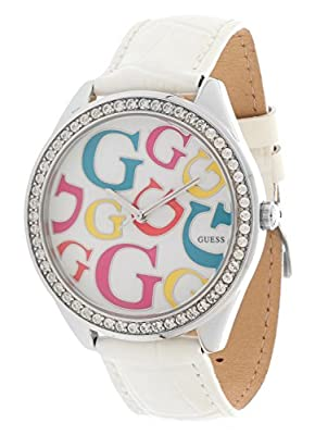 GUESS W80040L1 - Reloj analógico de cuarzo para mujer con correa de piel, color blanco