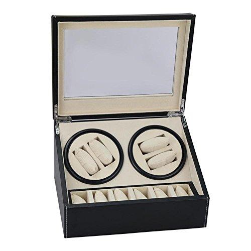 Leder Schlafzimmer Speicher (jianbo New Holz Automatik drehen Uhrenbeweger, Leder Display Box Case, Motor Tischkasten, 4 + 6 Positionen , A)