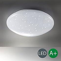B.K. Licht plafonnier LED effet scintillant, lumière blanche neutre 4000 Kelvin, lumière étoile, lampe pour chambre couloir salon, chambre d'enfant, 12W, 230V, IP20, Ø 290 mm