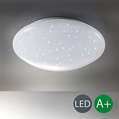 B.K.Licht Deckenleuchte LED 12W - Lampe mit Sternenlicht Glitzereffekt – Deckenlampe weiss – Wohnzimmerlampe – Badezimmerlampe – Flurlampe