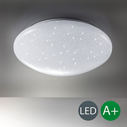 B.K.Licht Deckenlampe LED 12W, Sternenlicht, Deckenleuchte für Wohnzimmer, Flur, Badezimmer, kaltweiss, 230V, IP20, Ø 290mm